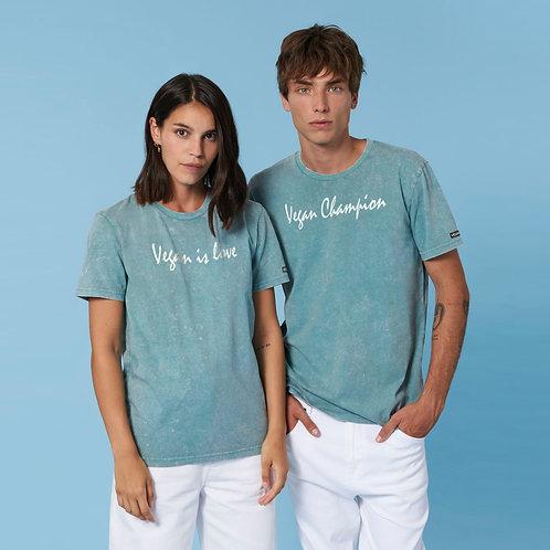 Vegan Creator Vintage Script T-Shirt with subtle vegan logo in 12 colours from Vegan Happy Clothing