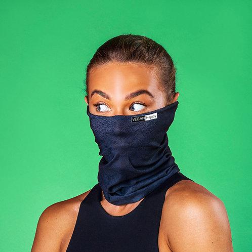 Vegan antiviral face covering, kills viruses within 2 hours of landing, shown in black from Vegan Happy Clothing