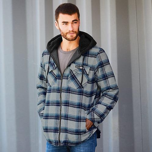 Vegan Men's Quilted Flannel Full-Zip Hooded Jacket