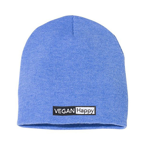 """Vegan Beanie Lightweight 8"""" Knit in 31 colours with subtle vegan logo from Vegan Happy Clothing"""