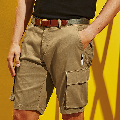 Vegan Men's Cargo Shorts with subtle vegan logo from Vegan Happy Clothing