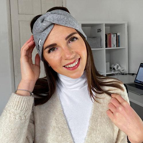 Vegan Headband grey twist with subtle vegan logo from VEGAN Happy Clothing