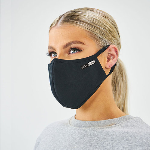 Vegan Antimicrobial Washable Face Mask with subtle Vegan Happy logo to the side