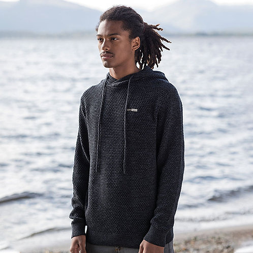 Vegan Hoodie knitted Ecologie Regen unisex with subtle vegan logo from Vegan Happy Clothing in black