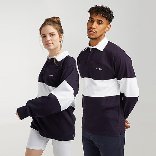 Vegan Unisex Panelled Rugby Shirt in 3 colours with subtle vegan logo from Vegan Happy Clothing