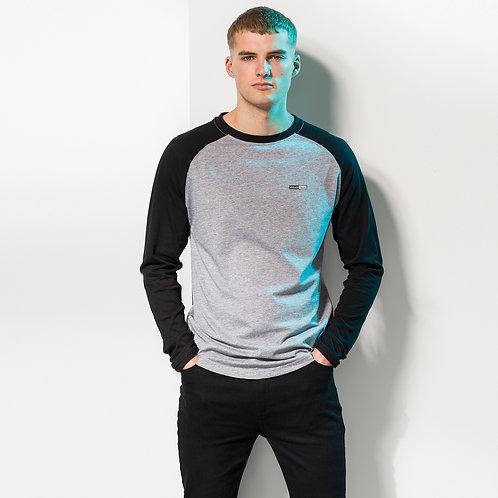 Vegan Men's Baseball Long Sleeve T-shirt with subtle vegan logo from Vegan Happy Clothing