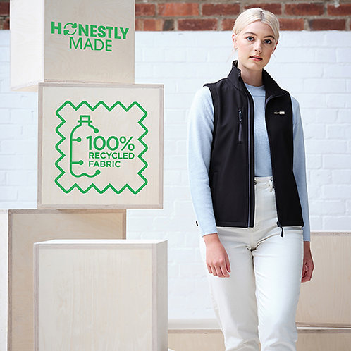 Vegan Honestly made 100% recycled body warmer with subtle vegan logo from Vegan Happy Clothing