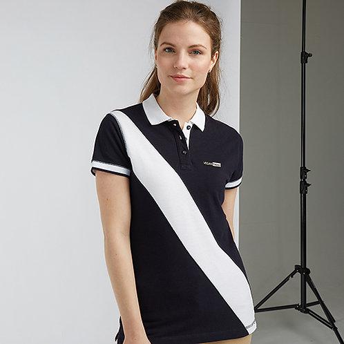 Vegan Women's Women's Diagonal Stripe Piqué Polo Shirt with subtle vegan logo from Vegan Happy Clothing