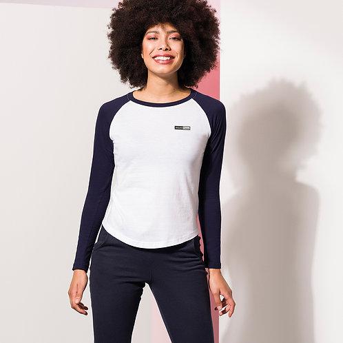Vegan Women's Baseball Long Sleeve T-shirt in 6 colours with subtle vegan logo from Vegan Happy Clothing