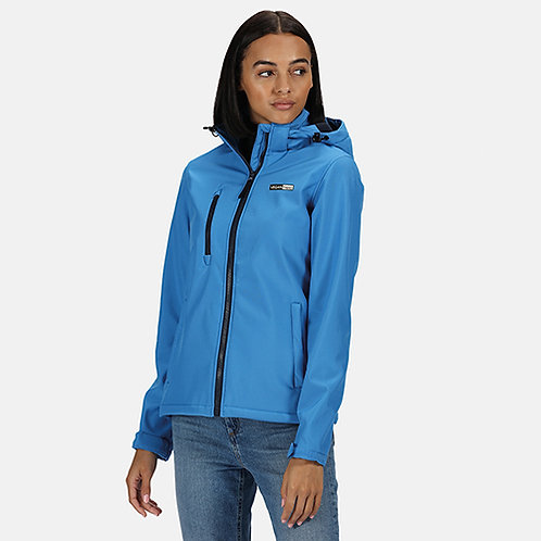 Vegan Women's Venturer 3-layer Hooded Softshell in 6 colours with subtle vegan logo from Vegan Happy Clothing