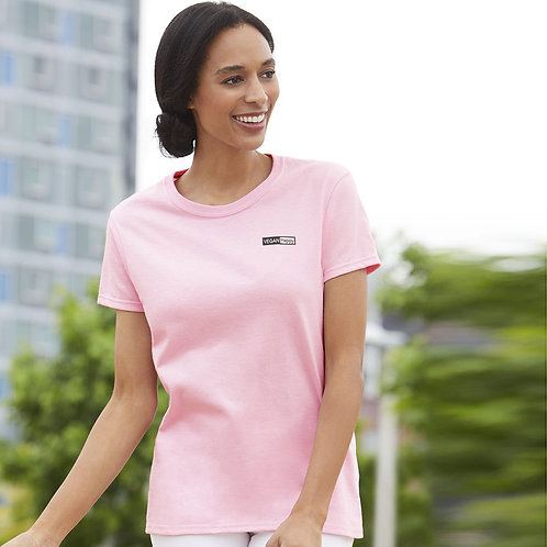 Vegan Women's Ultra Cotton Tee in 21 colours with subtle vegan logo from Vegan Happy Clothing