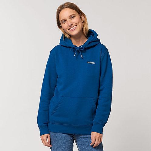 Vegan hoodie unisex cruiser with subtle vegan logo in 37 colours from Vegan Happy Clothing