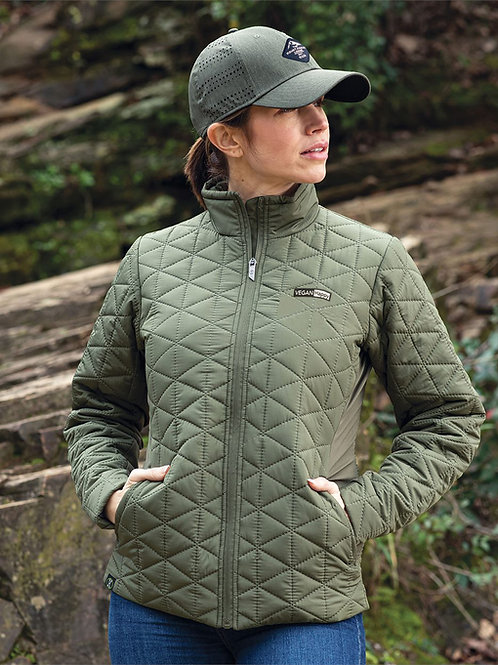 Vegan Women's Repreve Eco Quilted Jacket with subtle vegan logo from Vegan Happy Clothing