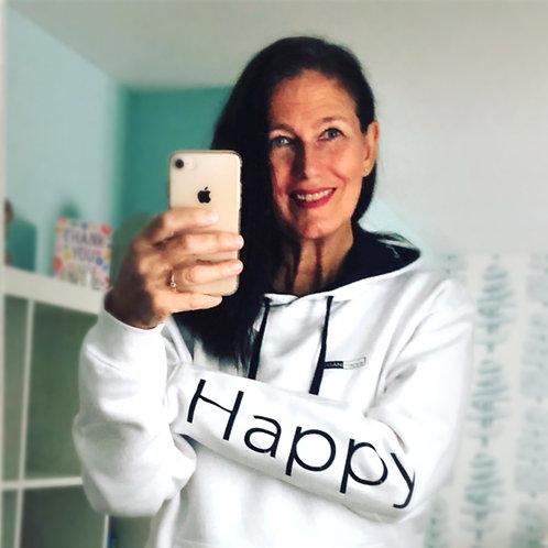 Vegan Happy Happy Hoodie, super fleecy, stylish vegan logo'd hoodie for men or women