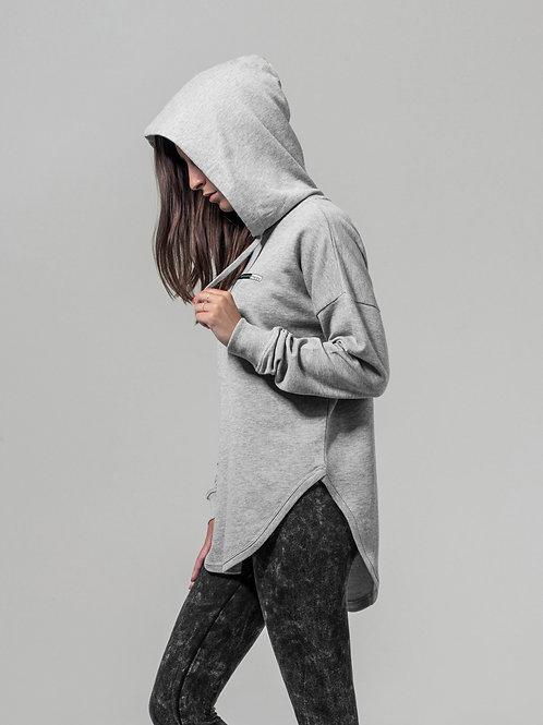 Vegan Women's Oversize Scoop Hoodie in pale grey with subtle vegan logo from Vegan Happy Clothing