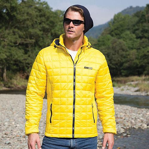 Vegan puffa jacket unisex urban blizzard with subtle vegan logo from Vegan Happy Clothing in yellow
