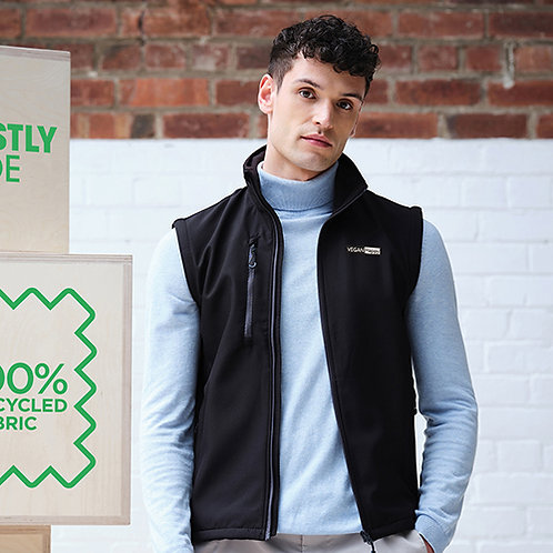Vegan Men's Honestly Made Honestly Made Recycled Softshell Bodywarmer with subtle vegan logo from Vegan Happy Clothing