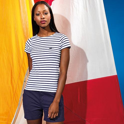 Vegan T-shirt - Women's Mariner Coastal style, in navy and white stripe