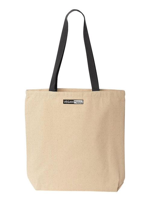 Vegan Natural Tote with Contrast-Color Handles