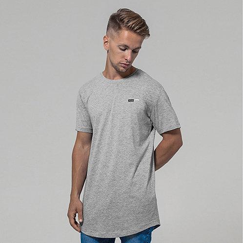 Vegan men's t-shirt longline with subtle vegan logo from Vegan Happy Clothing shown in heather grey