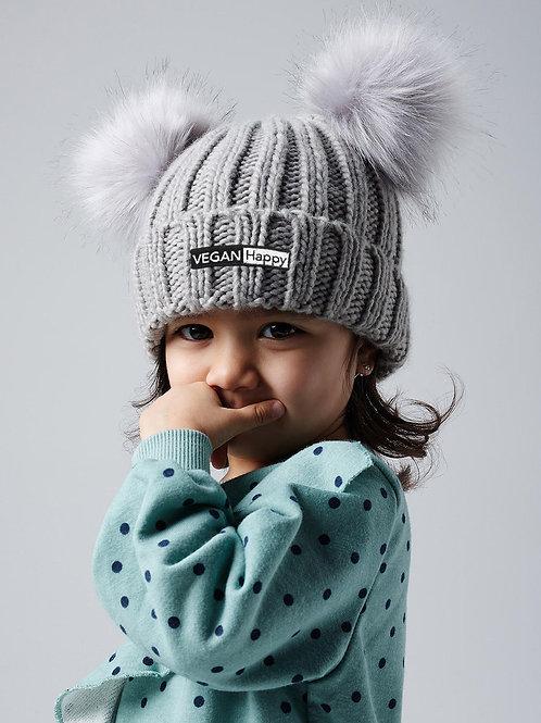 Vegan Infant/Junior Faux Fur Double Pom Pom Beanie Warm at VEGAN Happy