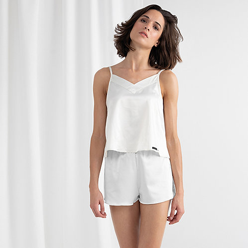 Vegan Women's Satin Cami Shorts Pyjamas in white with subtle vegan logo from Vegan Happy Clothing