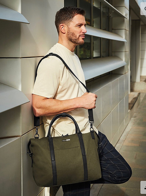 Vegan Utility Work/About Town Bag in olive green with subtle vegan logo from Vegan Happy Clothing