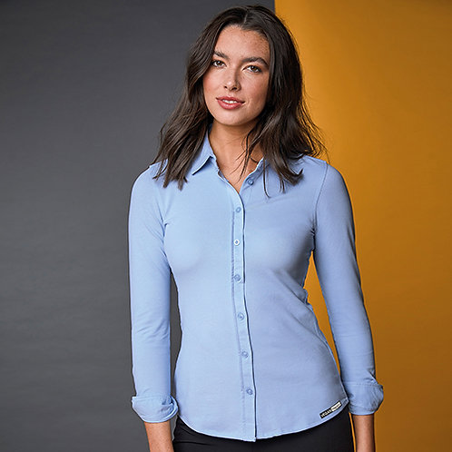 Vegan Women's Poppy Knitted Shirt with subtle vegan logo from Vegan Happy Clothing in Blue