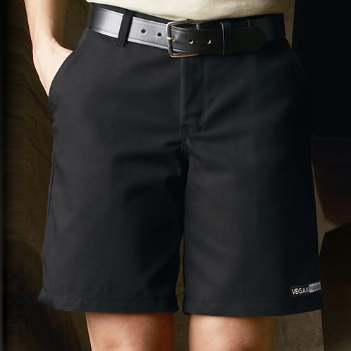 Vegan Women's Plain Front Shorts with subtle vegan logo to the hem from Vegan Happy Clothing