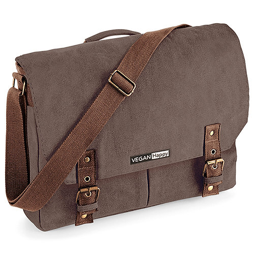 Vegan satchel, vintage canvas with subtle vegan logo from Vegan Happy Clothing
