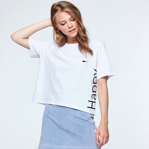 Vegan T-Shirt Women's Cropped 'Happy' T-Shirt shown in white with large Happy logo up the side