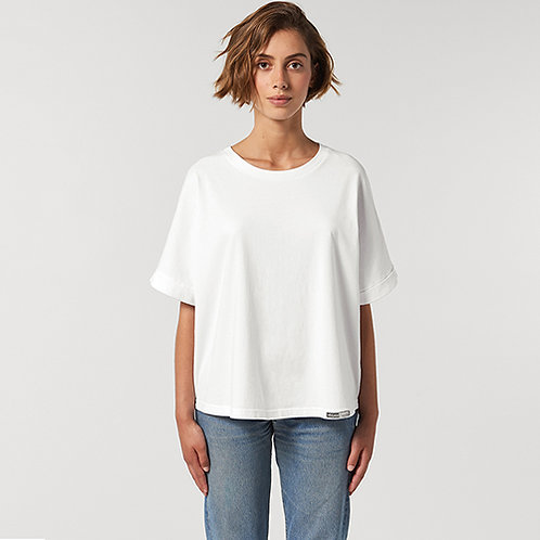 Vegan Women's Collider Boxy T-Shirt with subtle vegan logo to the hem from Vegan Happy Clothing