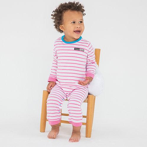 Vegan Baby Striped Bodysuit with subtle vegan logo from Vegan Happy Clothing