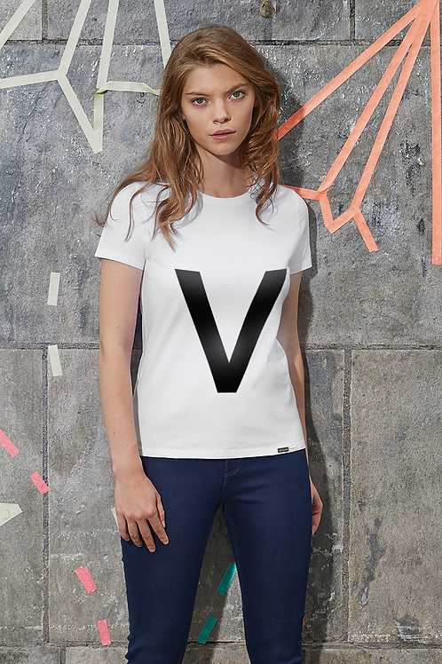Vegan T-Shirt - Women's 'V' Statement T with large V statement logo to the front