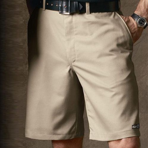 VeganMen's Plain Front Shorts with subtle vegan logo to the hem from Vegan Happy Clothing