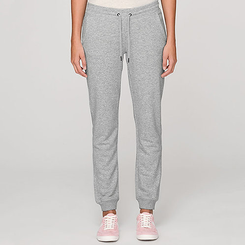 Vegan Joggers Stella Trigger with subtle vegan logo from Vegan Happy Clothing shown in heather grey