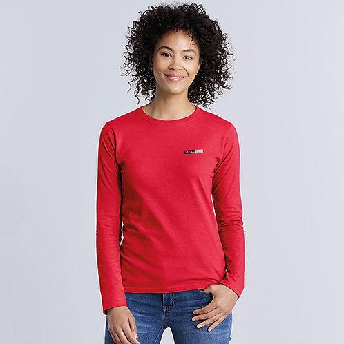 Vegan T-Shirt Women's Long Sleeve 100% cotton WRAP Certified long sleeved women's T-shirt from Vegan Happy Clothing in red