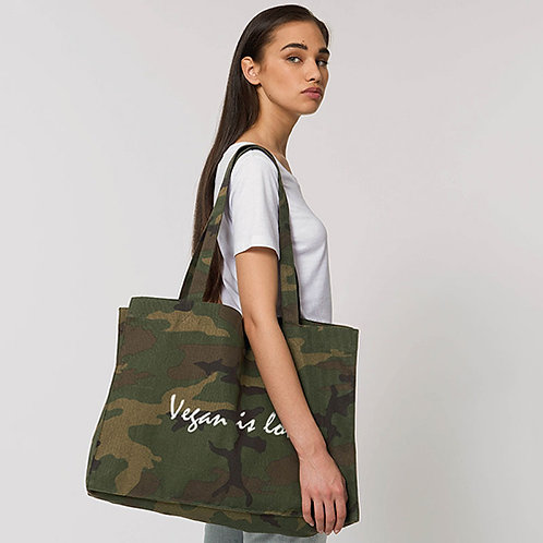 Vegan bag camo shopper vegan bag with Vegan Is Love logo from Vegan Happy Clothing