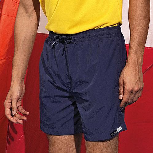 Vegan Shorts Men's Beach & Swim in navy blue, with stylish and subtle Vegan Happy logo to the hem