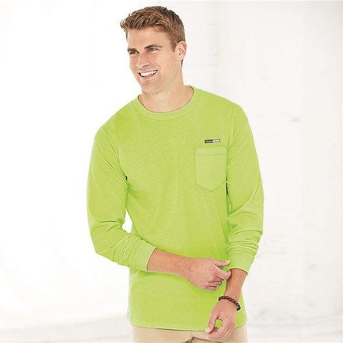 Vegan Men's Union Long Sleeve T-Shirt with Pocket with subtle vegan logo from Vegan Happy Clothing