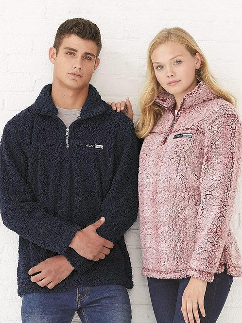Vegan Unisex Sherpa Fleece Quarter-Zip Pullover - Comfy for Women by VEGAN Happy