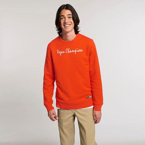 Vegan Changer Sweatshirt 'Vegan Champion' or 'Vegan Happy' in tangerine from Vegan Happy Clothing