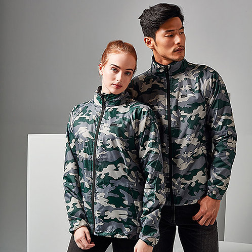 Vegan lightweight jacket with contrast zip in Camo pattern, 22 other patterns from Vegan Happy Clothing