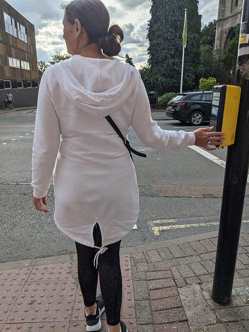 Vegan Women's Sweat Parka in pale grey with subtle vegan logo from Vegan Happy Clothing shown back view in white