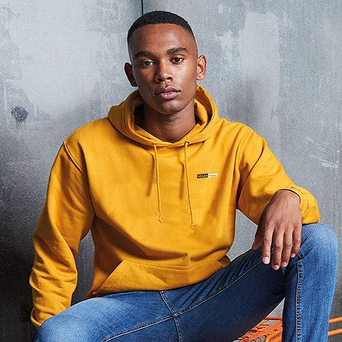 Vegan hoodie unisex college style with subtle vegan embroidered logo from Vegan Happy Clothing, shown in mustard colour