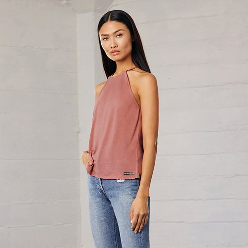 Women's Vegan Top - Flowy High Neck Tank with subtle logo from Vegan Happy Clothing perfect for summer