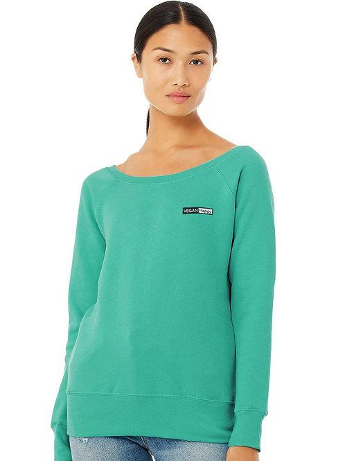 Vegan Women's Sponge Fleece Wide Neck Sweatshirt - Comfortable by VEGAN Happy