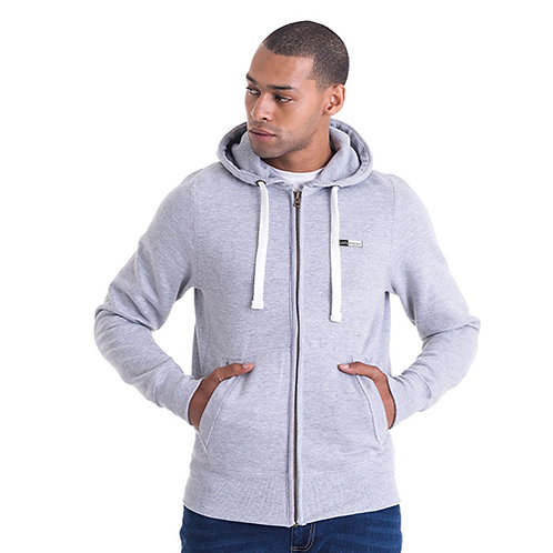 Vegan zip up hoodie from Vegan Happy Clothing shown in pale grey