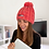 Vegan beanie with thermal band in coral sunset with stylish embroidered logo from Vegan Happy Clothing