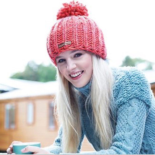 Vegan beanie pom pom in 4 colours from Vegan Happy Clothing with subtle vegan logo